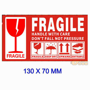 Large 130x70mm Warning Fragile Lable Tag Handle With Care Caution Sign Stickers