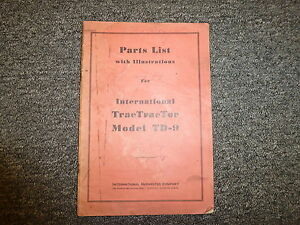 International Harvester Ih Td9 Trac Tractor Crawler Dozer Parts Catalog Manual