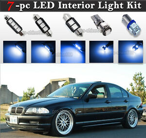 7 Pc Blue Canbus Led Interior Light Package Kit Fit Bmw E46 Sedan Wagon Coupe