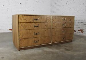 Vintage Mid Century Campaign Style Eight Drawer Dresser By Founders Furniture In