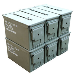 6 Pack M2A1 Surplus 50cal Size Metal Ammo CansAmmo Box - Excellent Grade A