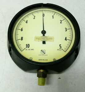 New Vintage Huge Ashcroft Compound Gauge 10 Vac 5 Psi 6 Dial 1 4 Steampunk