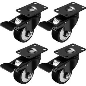 Rubber Base Top Plate Total Lock Brake Pack Of 4 Black By Online Best Service