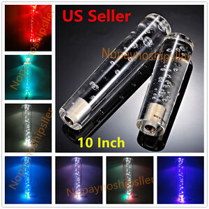 Universal 25cm 10 Inch Crystal Bubble Led Light Shift Knob Shifter Gear Lever