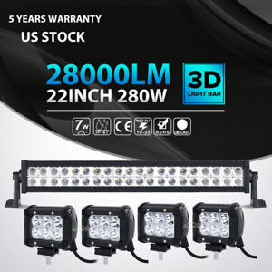 22inch 280w 4x 4 18w Led Light Bar Spot Flood Offroad Fog Truck Atv 4wd 23 24