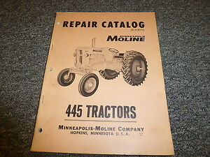Minneapolis Moline 445 Farm Utility Tractor Parts Catalog Manual Book R1157c