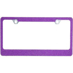 Bling Purple Crystal Diamon Metal License Plate Frame Cap