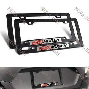 2pcs Mugen Car Trunk Emblem With Abs License Plate Tag Frame For Honda Civic Si