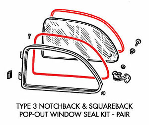 New Vw Type 3 Pop out Window Seal Kit Inner Outer Notchback Squareback