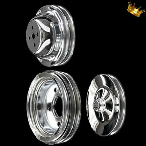 Chrome Big Block 3 Pulley Set Fits Chevy 396 427 454 502 With Short Water Pump