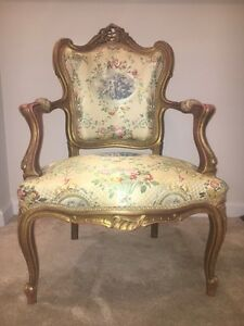 Vintage French Provincial Rococo Louis Xvi Gold Gilt Chair Maroon Back