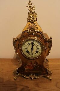 Victorian Antique French 8 Day Painted Mantel Clock Richard Cie Fully Cleaned