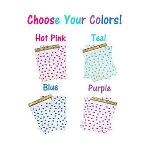 12 X15 All Color Exclusive Polka Dot Flat Poly Mailers_w Kiss Lips Stickers
