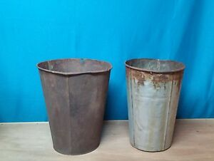 2 Large Antique Tin Sap Bucket Tall W Old Rustic Color Great Decor Planters