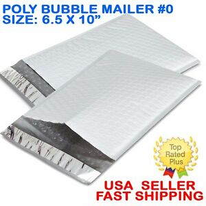 Size 0 6 5x10 Poly Bubble Mailers Padded Shipping Envelopes Self Sealing Bags