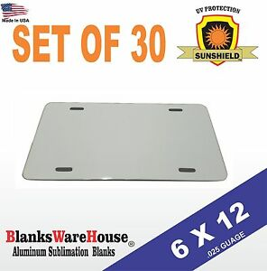 30 Pieces Aluminum License Plate Sublimation Blanks 6 x 12 New Best Quality