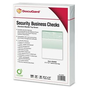 Lot Of 2 Packs Docugard 04502 Security Business Checks 500 pack Marble Top