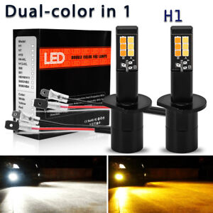 2x H1 160w Led White Amber Yellow Dual Color Fog Driving Drl Light Bulb 2600lm