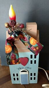 Primitive Salt Box House Electric Candle Lamp Light Rustic Welcome