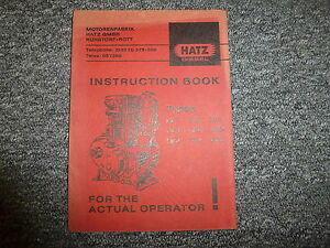 Hatz E80g E80fg E80fl E85g E85fg Diesel Air Cooled Engine Owner Operator Manual