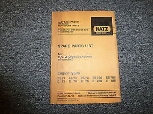 Hatz Es71 E71 Es75 E75 Es79 E79 Diesel Air Cooled Engine Parts Catalog Manual