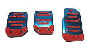 3pc Red And Blue Universal Manual Pedal Pad Cover Extreme Pack