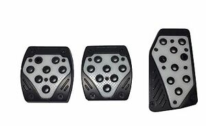 3pc Black And Gray Universal Manual Pedal Pad Cover Extreme Pack