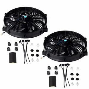 2pc 14 Universal Slim Fan Push Pull Electric Radiator Cooling 12v Mount Kit