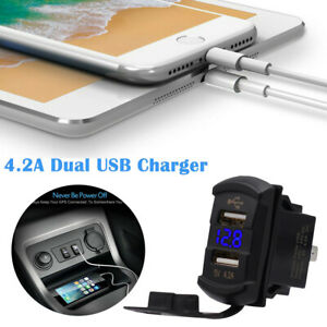 Car Marine Boat Dual Usb Switch Power Socket Plug Outlet Charger Adapter 12v