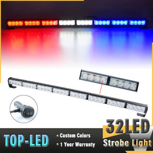 35 36 32 Led Emergency Warning Traffic Advisor Strobe Light Bar Blue White Red