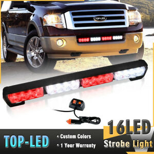 18 16led Emergency Warning Traffic Advisor 16w Strobe Flash Light Bar Red White