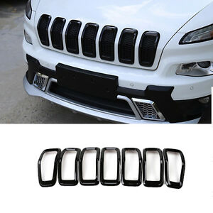 Front Grille Insert Grill Trim Frame Accessories black For Jeep Cherokee 2014 18