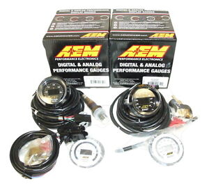 Aem 2 Gauges Combo Uego Wideband Air Fuel Ratio Turbo Boost Pressure