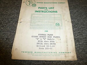 Towner Models A B Giant Offset Disc Plow Parts Catalog Owner Operator Manual