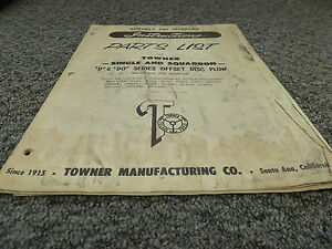 Towner D228d 232d 236d 240d Do236b 240b Disc Plow Parts Catalog