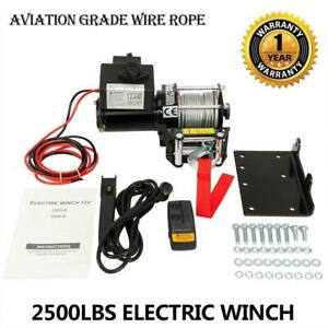12v 2500lbs For Oshino Electric Winch Kit Atv Steel Cable Remote Control 4wd