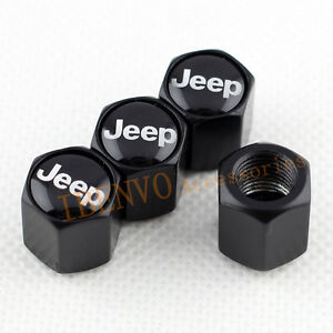 Black Metal Styling Car Wheel Tire Valve Stem Caps Accessories For Jeep Vehicles