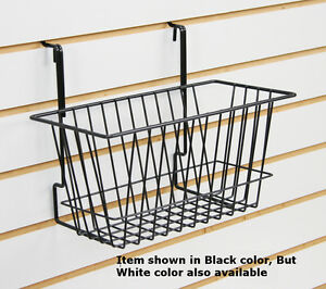 Lot Of 8 White Finished Basket Fit Pegboard Slat grid Wall 12 w X 6 d X 6 h