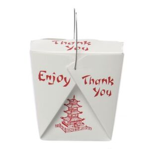 Chinese Food Containers With Wire Handles Pagoda Quart 32 Oz 68090