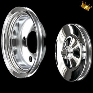 Chrome Chevy Small Block And Big Block Power Steering Add On Pulley Set With Swp