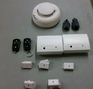 2 Sentrol Shatterpro Units 2 Keyfobs 5 Contacts 1 Smoke Detector Lot Bundle