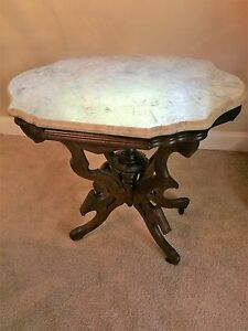 Eastlake Victorian Marble Top Center Table Side Table