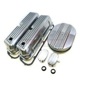 Sbf Ford Nostalgic Fin Aluminum 12 Air Cleaner Engine Dress Up Kit Valve Cover