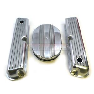 Small Block Ford Sbf Aluminum Fin Tall Valve Cover 12 air Cleaner Dress Up Kit