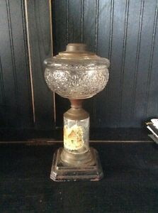 Antique Oil Kerosene Lamp With Winter Scene