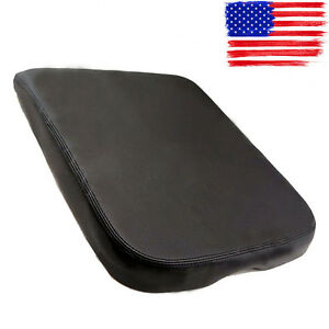 For Dodge Ram Synthetic Leather Console Lid Armrest Black Cover Fits 2002 2008