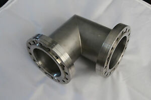 Varian High Vacuum Research Chamber Elbow Flange With 6 96 Od X 3 8 Id