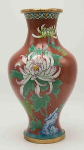 Antique Early 20th C Large Chinese Cloisonne Vase 12