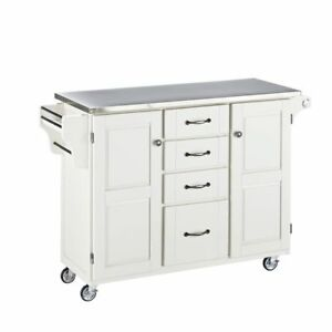 White Mobile Kitchen Cart Stainless Steel Top 66790