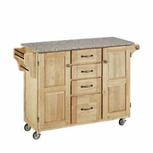 Granite Top Mobile Kitchen Cart Natural Base 67440